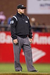 May 26, 2010; San Francisco, CA, USA;  Major League Baseball umpire Tony Randazzo (59) during the seventh inning of the game between the San Francisco Giants and the Washington Nationals at AT&T Park.  Washington defeated San Francisco 7-3.