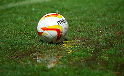 STEVENAGE, ENGLAND - Saturday, November 24, 2012: The match ball gets mired in a puddle during the Football League One match between Stevenage and Tranmere Rovers at Broadhall Way. (Pic by David Rawcliffe/Propaganda)