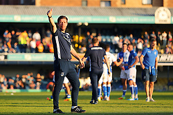 Bristol Rovers manager Darrell Clarke gives the thumbs up to the travelling fans - Mandatory by-line: Richard Calver/JMP - 05/05/2018 - FOOTBALL - Roots Hall - Southend-on-Sea, England - Southend United v Bristol Rovers - Sky Bet League One