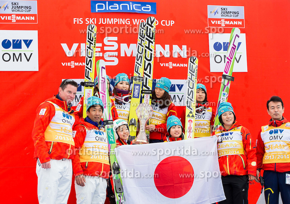 Overall winning team of Japan celebrates at trophy ceremony after the Ladies Large Hill Individual Competition at 3rd day of FIS Ski Jumping World Cup Finals Planica 2014, on March 22, 2014 in Planica, Slovenia. Photo by Vid Ponikvar / Sportida