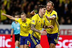 November 20, 2018 - Stockholm, Sweden - Victor Lindelof (C) of Sweden celebrates his goal with Andreas Granqvist (R) and Viktor Claesson during the UEFA Nations League B Group 2 match between Sweden and Russia on November 20, 2018 at Friends Arena in Stockholm, Sweden. (Credit Image: © Mike Kireev/NurPhoto via ZUMA Press)