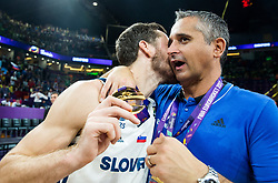 Goran Dragic of Slovenia and Igor Kokoskov, coach of Slovenia celebrating at Trophy ceremony after winning during the Final basketball match between National Teams  Slovenia and Serbia at Day 18 of the FIBA EuroBasket 2017 and become Europen Champions 2017, at Sinan Erdem Dome in Istanbul, Turkey on September 17, 2017. Photo by Vid Ponikvar / Sportida