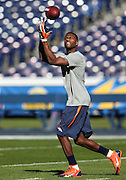 Denver Broncos wide receiver Emmanuel Sanders (10) catches a pregame pass while warming up before the NFL week 15 regular season football game against the San Diego Chargers on Sunday, Dec. 14, 2014 in San Diego. The Broncos won the game 22-10. ©Paul Anthony Spinelli