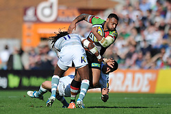 Jordan Turner-Hall (Harlequins) is double-tackled in possession - Photo mandatory by-line: Patrick Khachfe/JMP - Tel: Mobile: 07966 386802 29/03/2014 - SPORT - RUGBY UNION - The Twickenham Stoop, London - Harlequins v London Irish - Aviva Premiership.