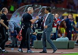 BELGRADE, SERBIA - Sunday, June 11, 2017: Wales'' manager Chris Coleman shakes hands with coach Kit Symons after the 1-1 draw with Serbia during the 2018 FIFA World Cup Qualifying Group D match between Wales and Serbia at the Red Star Stadium. (Pic by David Rawcliffe/Propaganda)