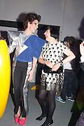 VALERIA NAPOLEONE; ALICE RAWTHORN;  Pop party. the birthday celebration of twin sisters Valeria Napoleone and Stefania Pramma. Studio Voltaire, London SW4. 17 May 2013.