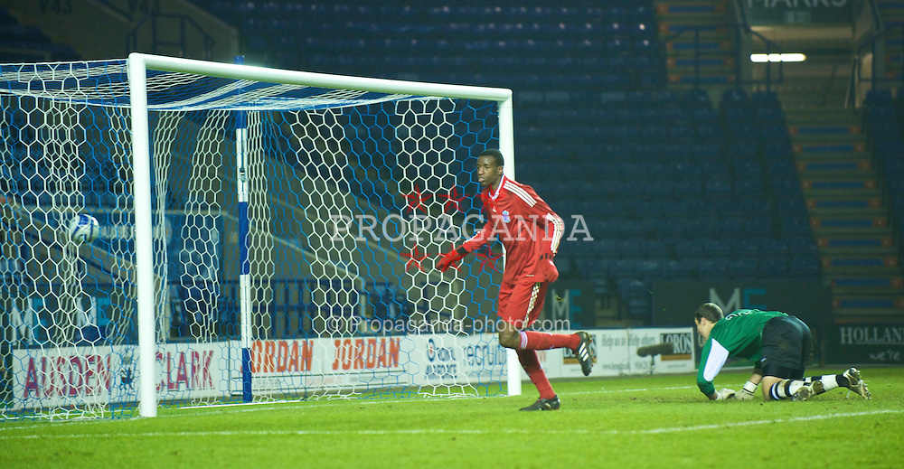 LEICESTER, ENGLAND - Tuesday, January 12, 2010: Liverpool's Michael Ngoo celebrates scoring the fifth goal against Leicester City the FA Youth Cup 4th Round match at the Walkers Stadium. (Photo by David Rawcliffe/Propaganda)