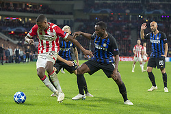 October 4, 2018 - Eindhoven, Netherlands - Denzel Dumfries of PSV and Kwadwo Asamoah of Inter during the UEFA Champions League Group B match between PSV Eindhoven and FC Internazionale Milano at Philips Stadium in Eindhoven, Holland on October 3, 2018  (Credit Image: © Andrew Surma/NurPhoto/ZUMA Press)