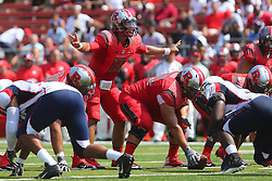 Sep 6, 2014; Piscataway, NJ, USA; Rutgers Scarlet Knights quarterback Gary Nova (10) calls an audible during the first half at High Points Solutions Stadium.
