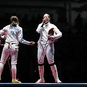 Fencing - Olympics: Day 1 Emese Szasz, Hungary, reacts after defeating Rossella Fiamingo, Italy, to win the gold medal during the Women's Épée Individual Final at Carioca Arena 3 on August 6, 2016 in Rio de Janeiro, Brazil. (Photo by Tim Clayton/Corbis via Getty Images)