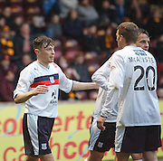 Nicky Riley is congratulated by Jim McAlister  and Kyle Benedictus  after scoring - Motherwell v Dundee at Fir Park in the Clydesdale Bank Scottish Premier League.. - © David Young - www.davidyoungphoto.co.uk - email: davidyoungphoto@gmail.com