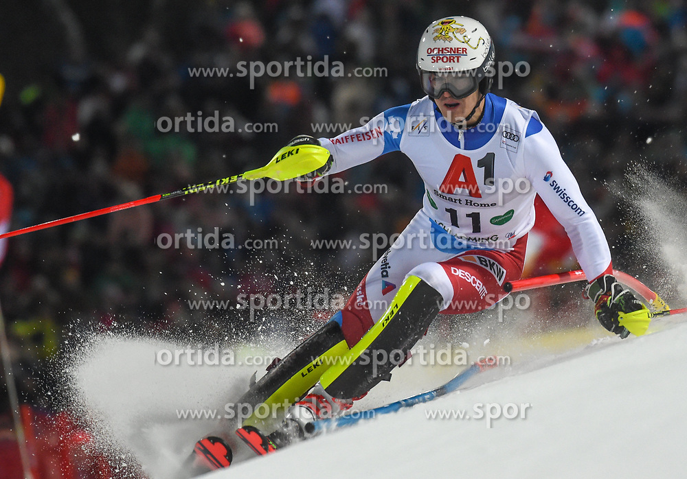 "29.01.2019, Planai, Schladming, AUT, FIS Weltcup Ski Alpin, Slalom, Herren, 1. Lauf, im Bild Loic Meillard (SUI) // Loic Meillard of Switzerland in action during his 1st run of men's Slalom ""the Nightrace"" of FIS ski alpine world cup at the Planai in Schladming, Austria on 2019/01/29. EXPA Pictures © 2019, PhotoCredit: EXPA/ Erich Spiess"