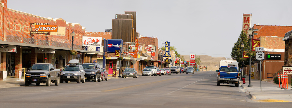 Panoramic photograph of US 2 (US Highway 2, US Route 2) passing through downtown Shelby, Montana USA. Route 2 forms the Main Street in Shelby and many other small towns along the High Line from its western terminus in Everett, Washington to the upper penninsula of Michigan and onto the state of Maine..©Rich Frishman.ALL RIGHTS RESERVED