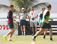 England manager Roy Hodgson (C) watches the England open training session at Est&aacute;dio Claudio Coutinho, Urca, Rio de Janeiro<br /> Picture by Andrew Tobin/Focus Images Ltd +44 7710 761829<br /> 16/06/2014