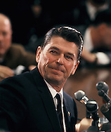 Gorvernor Ronald Reagan at a press conference in January 1968<br /> Photo by Dennis Brack