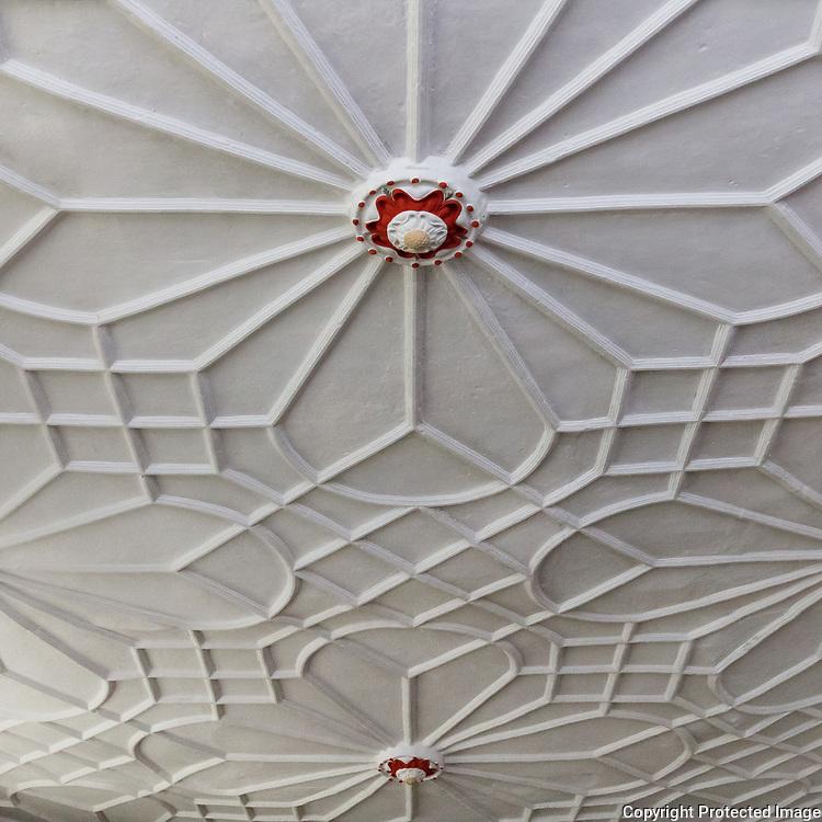 Plasterwork ceiling with Tudor rose, Plas Mawr, Conwy.