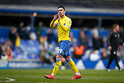 Disappointed Leeds United midfielder Pablo Hernandez (19) applauds the fans at full time during the EFL Sky Bet Championship match between Birmingham City and Leeds United at St Andrews, Birmingham, England on 6 April 2019.