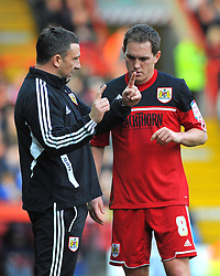 Bristol City Manager, Derek McInnes and Bristol City's Neil Kilkenny discuss tactics  - Photo mandatory by-line: Joe Meredith/JMP  - Tel: Mobile:07966 386802 17/11/2012 - Bristol City v Blackpool - SPORT - FOOTBALL - Championship -  Bristol  - Ashton Gate Stadium -