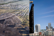 The modern city of London and the ancient temple Teotihuacan in Mexico. The giant ad for Mexican tourism is a riverside poster opposite 21st Century architecture. The holy city of Teotihuacan ('the place where the gods were created') is situated some 50 km north-east of Mexico City. Built between the 1st and 7th centuries A.D., it is characterized by the vast size of its monuments – in particular, the Temple of Quetzalcoatl and the Pyramids of the Sun and the Moon, laid out on geometric and symbolic principles. As one of the most powerful cultural centres in Mesoamerica, Teotihuacan extended its cultural and artistic influence throughout the region, and even beyond.