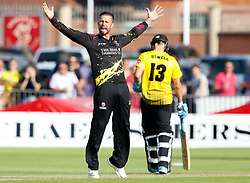Somerset's Peter Trego celebrates taking the wicket of Gloucestershire's Michael Klinger<br /> <br /> Photographer Simon King/Replay Images<br /> <br /> Vitality Blast T20 - Round 1 - Somerset v Gloucestershire - Friday 6th July 2018 - Cooper Associates County Ground - Taunton<br /> <br /> World Copyright © Replay Images . All rights reserved. info@replayimages.co.uk - http://replayimages.co.uk