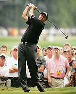 Phil Mickelson of the US tees off on the 15th tee during the final round of the 2005 PGA Championship at Baltusrol Golf Club in Springfield, New Jersey, Monday 15 August 2005. Mickelson clinched his second major title with a one-shot victory on Monday.