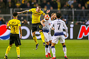Borussia Dortmund forward Marius Wolf (27) tussles with Tottenham Hotspur forward Harry Kane (10) during the Champions League round of 16, leg 2 of 2 match between Borussia Dortmund and Tottenham Hotspur at Signal Iduna Park, Dortmund, Germany on 5 March 2019.