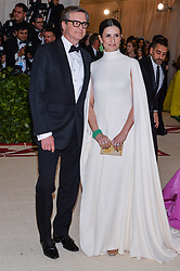 Colin Firth and Livia Firth walking the red carpet at The Metropolitan Museum of Art Costume Institute Benefit celebrating the opening of Heavenly Bodies : Fashion and the Catholic Imagination held at The Metropolitan Museum of Art  in New York, NY, on May 7, 2018. (Photo by Anthony Behar/Sipa USA)