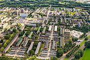 Nederland, Zuid-Holland, Rotterdam, 15-07-2012; Pendrecht (deelgemeente Charlois, Rotterdam-Zuid). Noordwestelijk deel, Plein 1953mlinks boven het midden..Nieuwbouwwijk uit de jaren vijftig van de vorige eeuw, wederopbouw periode. Stedenbouwkundig ontwerp van Lotte Stam-Beese, kenmerkend zijn de ruime opzet en  veel groen. Ontworpen als wijk met verschillende woningtypen (en verschillende bewoners) en voorzien van alle voorzieningen..Pendrecht (part of Charlois, Rotterdam-South). New neighborhood (fifties of the last century), post-war reconstruction period. Urban design of Lotte Stam-Beese, characterized by spacious layout and lots of green. Designed as residential district with different housing types...luchtfoto (toeslag), aerial photo (additional fee required).foto/photo Siebe Swart