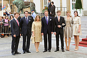 Marriage Civil wedding of Grand Duke Guillaume and Princess Stephanie at Hotel de Ville in Luxembourg.<br /> <br /> On the photo: family of Grand Duke Guillaume and Princess Stephanie ( Grand Duke Henri and Grand Duchess Maria Teresa )