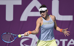 DOHA, Feb. 10, 2018  Duan Yingying of China hits a return during the qualifying match against Barbora Krejcikova of the Czech Republic at the 2018 WTA Qatar Open in Doha, Qatar, on Feb. 10, 2018. Duan Yingying won 2-0. (Credit Image: © Nikku/Xinhua via ZUMA Wire)