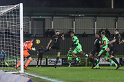 Forest Green Rovers Reuben Reid(26) heads the ball scores a goal 1-1 during the EFL Sky Bet League 2 match between Forest Green Rovers and Mansfield Town at the New Lawn, Forest Green, United Kingdom on 29 January 2019.