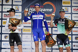March 16, 2018 - Handzame, Belgique - HANDZAME, BELGIUM - MARCH 16 : HALVORSEN Kristoffer  (NOR)  of Team SKY, HODEG CHAGUI Alvaro Jose  (COL)  of Quick - Step Floors and ACKERMANN Pascal  (GER)  of Bora - Hansgrohe pictured during the podium ceremony after the Bredene Handzame Classic cycling race with start in Bredene and finish in Handzame (Credit Image: © Panoramic via ZUMA Press)