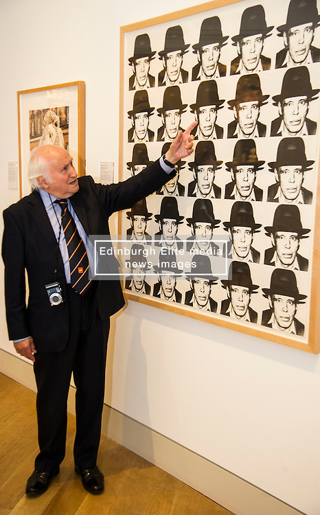 Pictured: 86 year old Richard Demarco has lost none of his enthusiasm of all works for art. He was still seeing new aspects of Beuy's work as the toured the exhibition. <br /> <br /> The Richard Demarco & Joseph Beuys A Unique Partnership exhibition examines the collaboration between the avant-garde gallerist and German post-war artist. The exhibition is open to the public between  30 July and 1 October 2016<br /> <br /> Ger Harley | EEm 28 July 2016