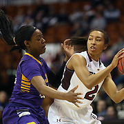 Feyonda Fitzgerald, (right), Temple, in action during the Temple Vs East Carolina Quarterfinal Basketball game during the American Women's College Basketball Championships 2015 at Mohegan Sun Arena, Uncasville, Connecticut, USA. 7th March 2015. Photo Tim Clayton
