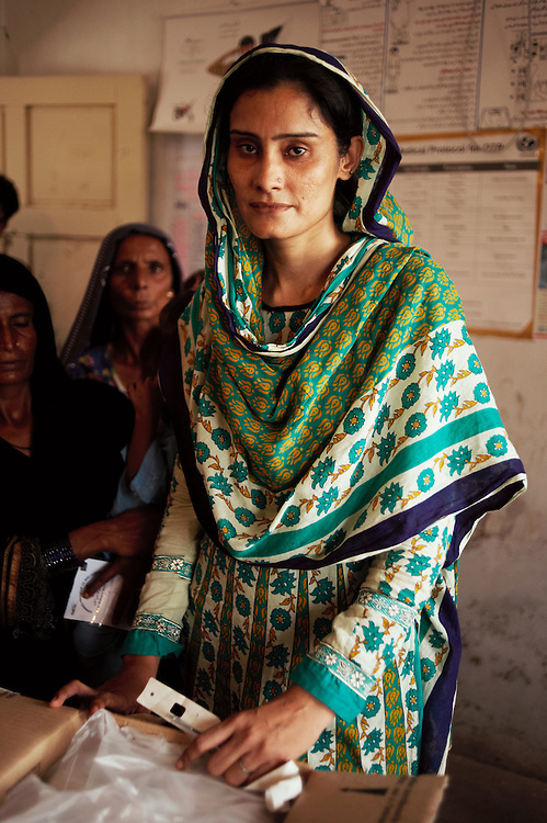 Shameem Akhtar, a Merlin lady health visitor working at the government health centre in Mitho Barbar, Dadu, Thatta, Sindh, Pakistan on July 4, 2011.