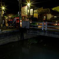 Fishing Cat (Prionailurus viverrinus) biologist, Anya Ratnayaka, tracking cat next to canal in city at night, Urban Fishing Cat Project, Colombo, Sri Lanka