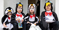 © Licensed to London News Pictures. 21/03/2019. London, UK. Orthodox Jewish Children in fancy dress celebrate the festival of Purim on the streets of Stamford Hill in north London on 21 March 2019. Purim celebrates the miraculous salvation of the Jews from a genocidal plot in ancient Persia, documented in the Book of Esther. Traditionally the jewish community wear fancy dress and exchange gifts of food and drink. Photo credit: Rob Pinney/LNP