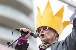 © Licensed to London News Pictures. 29/11/2015. London, UK. Dame Vivienne Westwood, fashion designer and environmentalist, gives a speech at the start of the People's Climate March, ahead of tomorrow's Paris climate talks.  The march is one of many such marches taking place in major cities worldwide, demanding that governments take action against climate change.  The march followed a route through the capital from Park Lane to Millbank. Photo credit : Stephen Chung/LNP