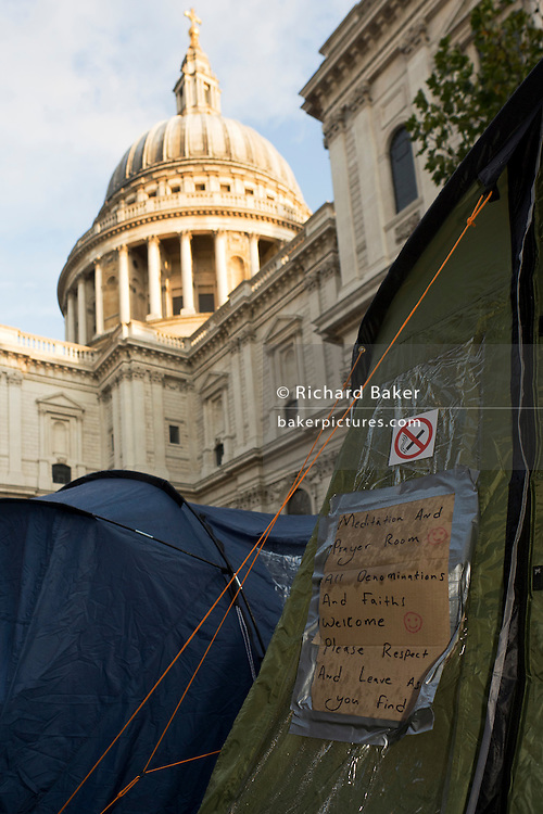 Meditation and prayer tent below church dome on the 11th day of the Occupy London protest camp in St Paul's cathedral churchyard, London 26/11/11. City lawyers are using medieval pedestrian bylaws to gain a court injunction to evict the activists who set up tents and shelters as in other countries.