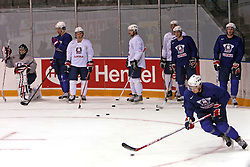 Slovenian hockey players (right Marcel Rodman) at practice of Slovenian national team at Hockey IIHF WC 2008 in Halifax,  on May 01, 2008 in Forum Centre, Halifax, Canada.  (Photo by Vid Ponikvar / Sportal Images)