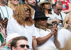 LONDON, ENGLAND - Saturday, July 9, 2016:  Serena Williams (USA)'s mother and sister  after the Ladies' Singles - Finals match on day thirteen of the Wimbledon Lawn Tennis Championships at the All England Lawn Tennis and Croquet Club. (Pic by Kirsten Holst/Propaganda)
