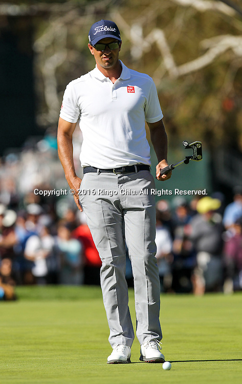 Adam Scott plays in the Final Round of the Northern Trust Open at the Riviera Country Club on February 21, 2016, in Los Angeles,(Photo by Ringo Chiu/PHOTOFORMULA.com)<br /> <br /> Usage Notes: This content is intended for editorial use only. For other uses, additional clearances may be required.