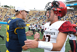 BERKELEY, CA - SEPTEMBER 12:  Quarterback Jared Goff #16 of the California Golden Bears shakes hands with quarterback Maxwell Smith #17 of the San Diego State Aztecs after the game at California Memorial Stadium on September 12, 2015 in Berkeley, California. The California Golden Bears defeated the San Diego State Aztecs 35-7. (Photo by Jason O. Watson/Getty Images) *** Local Caption *** Jared Goff; Maxwell Smith