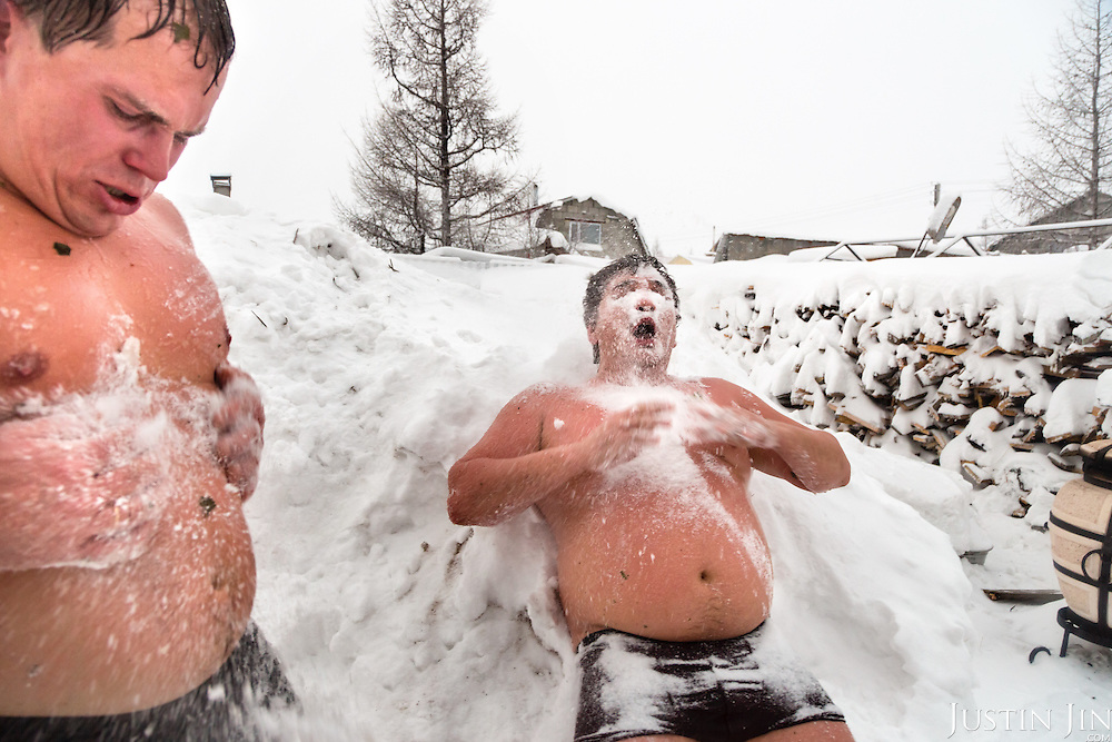 Gas workers enjoy the banya (Russian sauna) at home in Novy Urengoi, sub-Arctic Siberia, Russia.