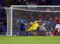 Photo: Chris Ratcliffe.<br /> England U21 v Moldova U21. European Championship Qualifier. 15/08/2006.<br /> Alexandr Zislis of Moldova U21 scores the equaliser past Scott Carson to make it 2-2.