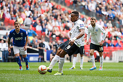 Peterborough Forward Britt Assombalonga (COD) scores his sides 3rd goal from the penalty spot - Photo mandatory by-line: Rogan Thomson/JMP - 07966 386802 - 30/03/2014 - SPORT - FOOTBALL - Wembley Stadium, London - Chesterfield FC v Peterborough United - Johnstone's Paint Trophy Final.