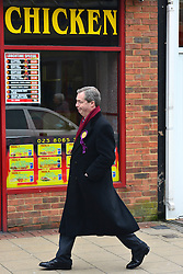 © Licensed to London News Pictures. 12/02/2013. Eastleigh, UK NIGEL FARAGE. Diane James, chosen yesterday to fight the Eastleigh by election for UKIP, campaigns with Nigel Farage, leader of the party, in Easleigh's Market Street today 12th February 2013. Photo credit : Stephen Simpson/LNP