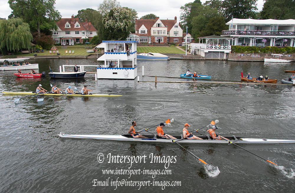 Henley on Thames, England, United Kingdom, Saturday, 06.07.19, Sydney Rowing Club, Australia, AUS, (top), crossing the line ahead of Lea Rowing Club (bottom), in the Semi-Final of the Wyfold Challenge Cup, Henley Royal Regatta,  Henley Reach, [©Karon PHILLIPS/Intersport Images]<br /> <br /> 10:57:08 1919 - 2019, Royal Henley Peace Regatta Centenary,