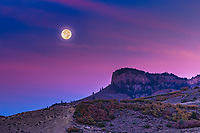 Sunrise, moonset over tne Curecanti National Rcreation Area.  Colorado.