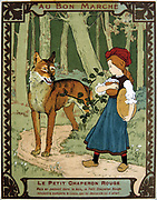 Little Red Riding Hood, on her way to see her grandmother, meeting the Wolf in the woods. French trade card c1900 illustrating the fairy tale by the French author Charles Perrault (1628-1703).  Literature Juvenile  Chromolithograph